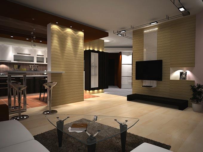 Дизайн интерьера кухни-гостинной